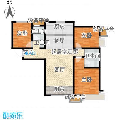 京能海与城127.00㎡高层标准层通透户型