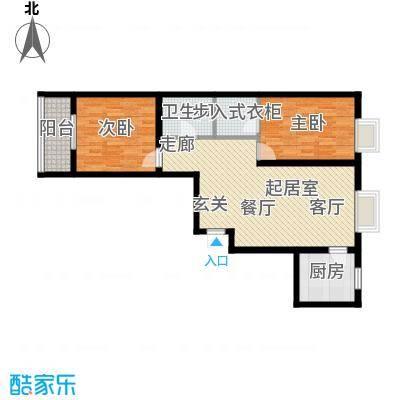 水木白杨92.73㎡8号楼C户面积9273m户型