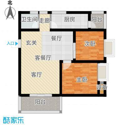 翡丽城92.27㎡3#1单元4楼1号2室面积9227m户型