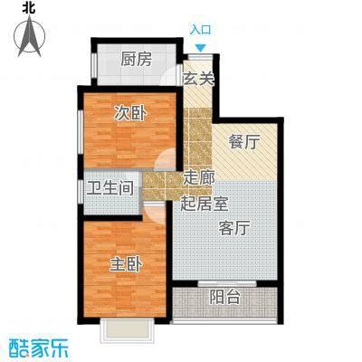香樟园88.73㎡1#楼标准层A面积8873m户型