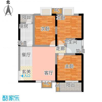 福邸铭门97.88㎡1号楼G面积9788m户型
