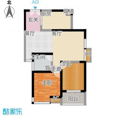 福邸铭门96.81㎡1号楼H面积9681m户型