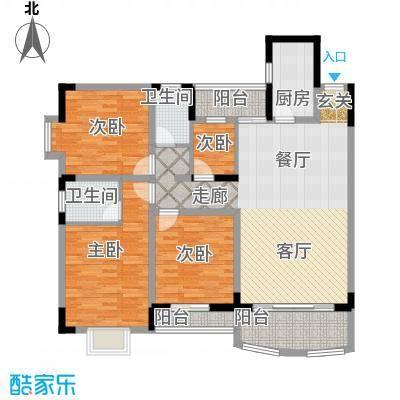 宏华花苑126.76㎡A、B栋面积12676m户型