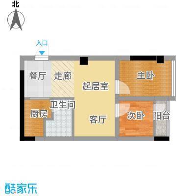 雍晟时代公馆44.49㎡1栋2面积4449m户型