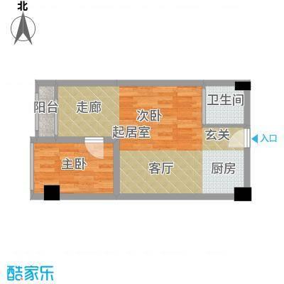 雍晟时代公馆46.59㎡1栋21~面积4659m户型