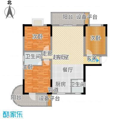 鑫天山城明珠124.44㎡10、11栋G3面积12444m户型