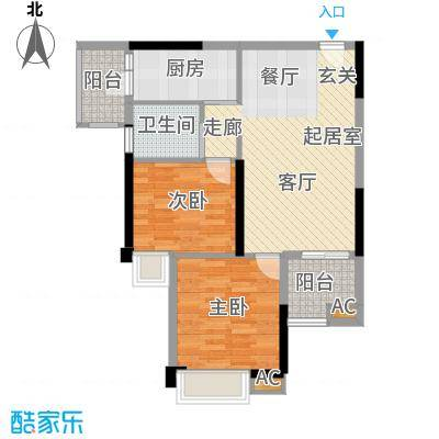 湘域中央85.42㎡3号楼A型二面积8542m户型