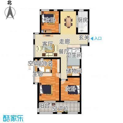 申达林与城137.00㎡D户型3室2厅2卫