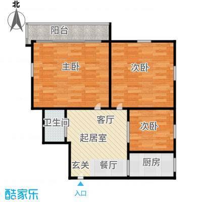 德胜新村64.00㎡面积6400m户型