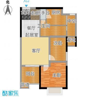 湘府9号81.00㎡1号楼D二面积8100m户型