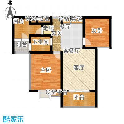 鑫远湘府华城87.70㎡F1面积8770m户型