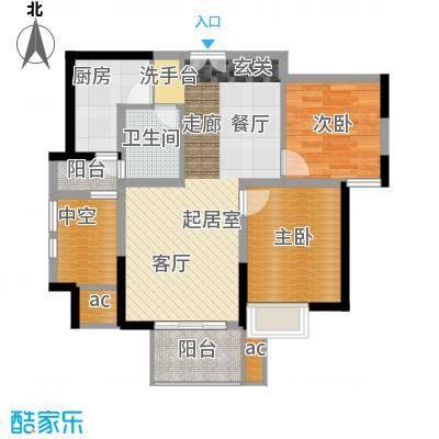湘府9号78.00㎡1号楼E二面积7800m户型