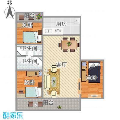 新龙家园3室2厅的户型图