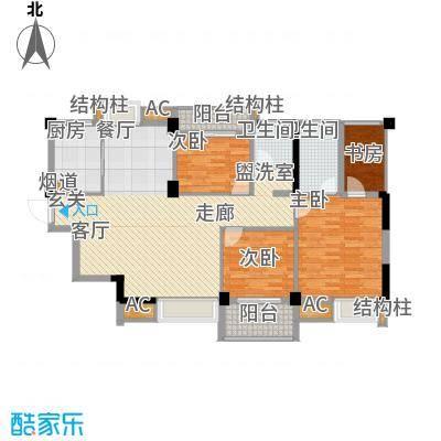中民长青里117.44㎡4#楼5#楼C户型