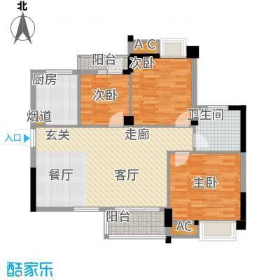 中民长青里89.47㎡4#楼5#楼D户型