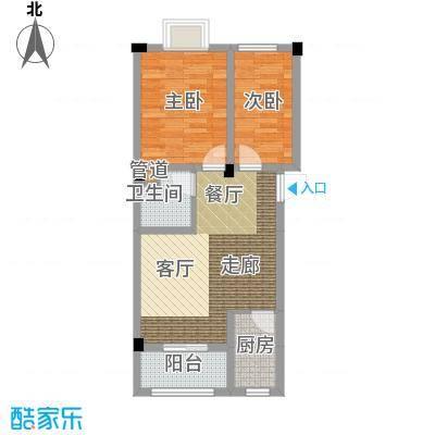 金谷鑫城三期65.80㎡二期1栋标准层p1户型