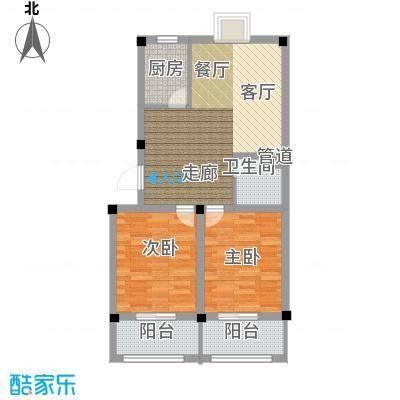 金谷鑫城三期74.30㎡二期1栋标准层p2户型