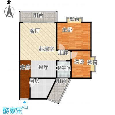 滨江花园75.00㎡2面积7500m户型