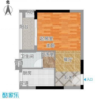 小北御景40.37㎡A座07单元1室2面积4037m户型