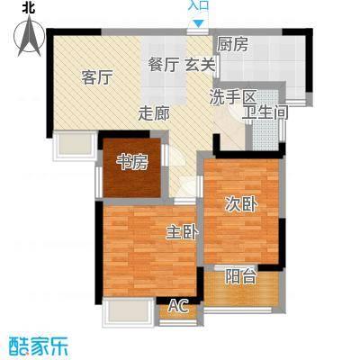 中国铁建梧桐苑88.82㎡6号楼E2户型