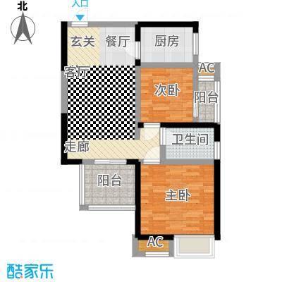 中国铁建梧桐苑72.67㎡1号楼B2户型