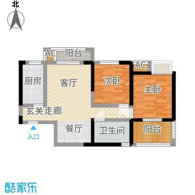 中国铁建梧桐苑82.14㎡1号楼B1户型