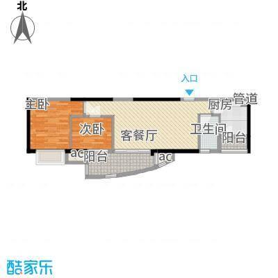 富力朗逸轩76.65㎡3-13层03单位面积7665m户型