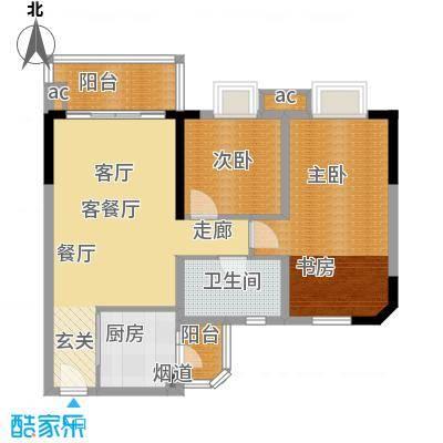 宏康东筑80.00㎡1栋04单元3室2面积8000m户型
