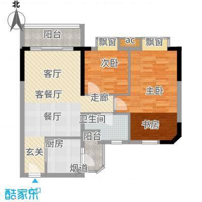 宏康东筑80.04㎡3楼05单元2室2面积8004m户型