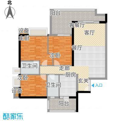 富力君湖华庭120.00㎡T1栋2-25层面积12000m户型