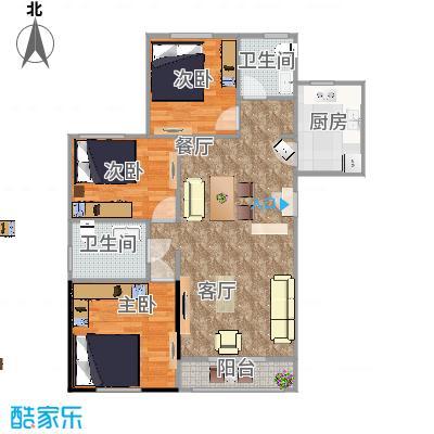 北京顶秀金石家园3室2厅2卫户型图