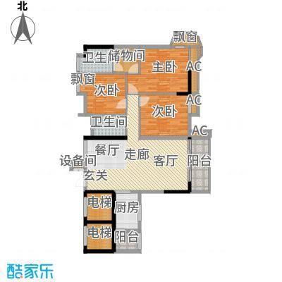 金竹家园122.25㎡1期3幢标准层01面积12225m户型
