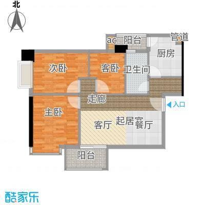 富力尚溢居86.71㎡06单元3室面积8671m户型