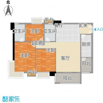 东海嘉园124.01㎡C塔4-11层3单位面积12401m户型