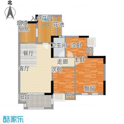 万科云山95.00㎡C2栋01单元3室面积9500m户型
