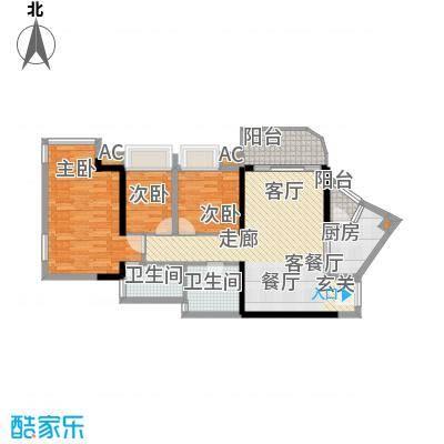 瀚林水岸89.19㎡A栋06单元3室2面积8919m户型