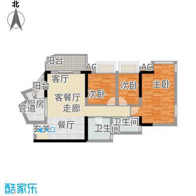 瀚林水岸88.63㎡C栋03单元3室2面积8863m户型