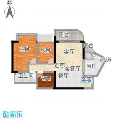瀚林水岸87.02㎡B栋06单元3室2面积8702m户型