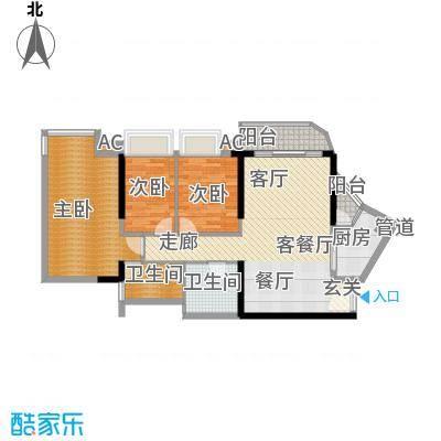 瀚林水岸92.02㎡C栋06单元3室2面积9202m户型