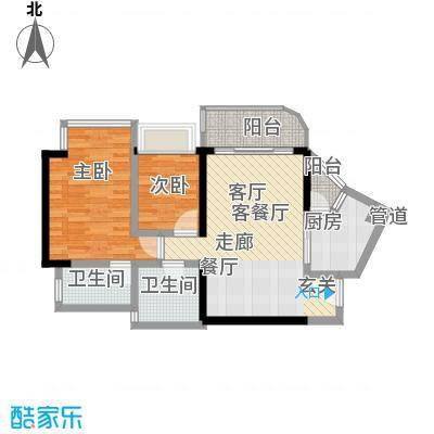 瀚林水岸72.66㎡B栋06单元2室2面积7266m户型