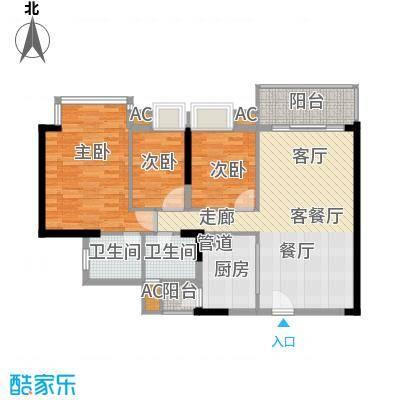 瀚林水岸90.78㎡A栋01单元3室2面积9078m户型