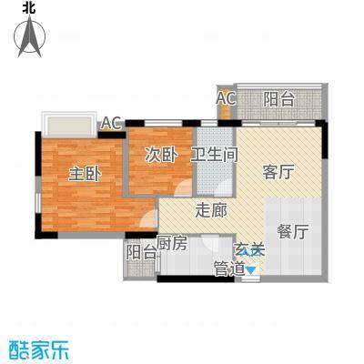 云山熹景78.00㎡B9栋04单元2室面积7800m户型
