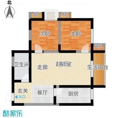 蔚蓝领寓82.49㎡1号楼B1面积8249m户型