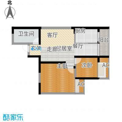 蔚蓝领寓83.93㎡1号楼D面积8393m户型