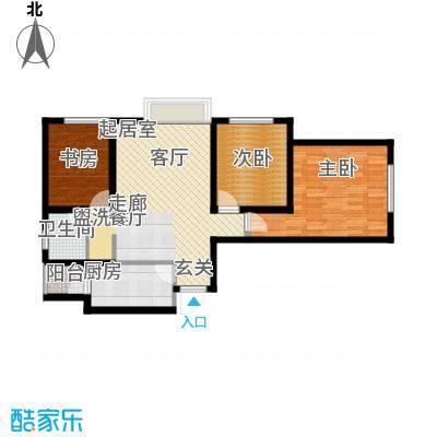 龙天名俊88.00㎡5号楼H面积8800m户型