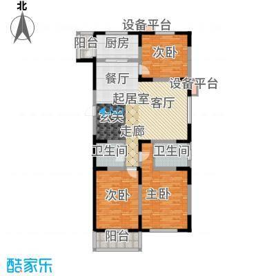 高科新花园120.18㎡3-6号楼D2面积12018m户型