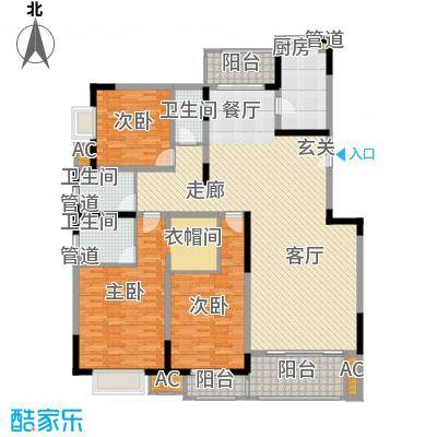 中国铁建梧桐苑175.00㎡A13面积17500m户型