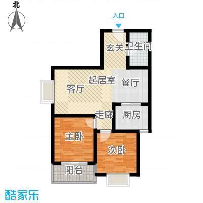 安诚御花苑92.27㎡B区2#楼2单元标准层F12室户型