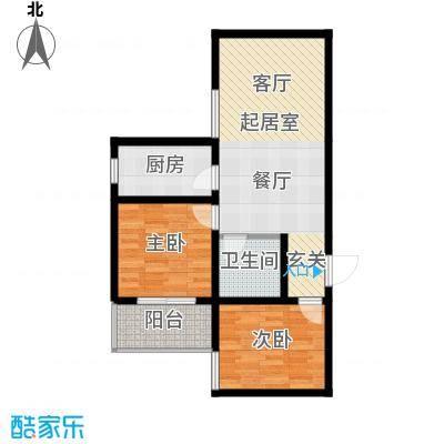 安诚御花苑82.53㎡B区2#楼1单元标准层D2室户型