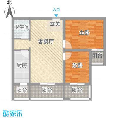 香米苑90.68㎡F标准层户型